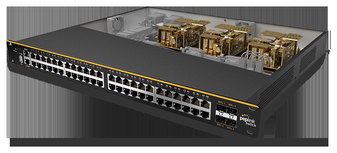 Peplink SD-Switch 24-Port Enterprise (isometric open)